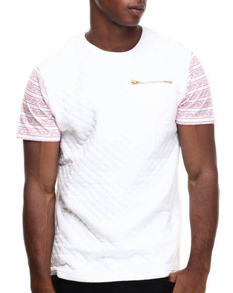 Ur-ID 216957 Well Established - Men White Quilted 2-Tone S/S Tee