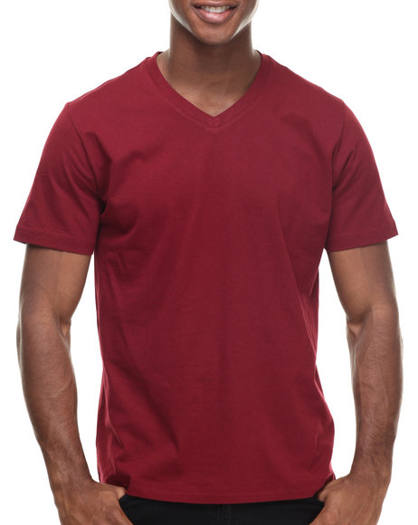 Basic Essentials - Men Maroon Basic V - Neck S/S Tee