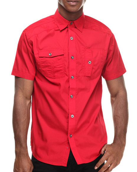 Ur-ID 216891 Buyers Picks - Men Red Contender Napoleon Pocket S/S Button Down Shirt