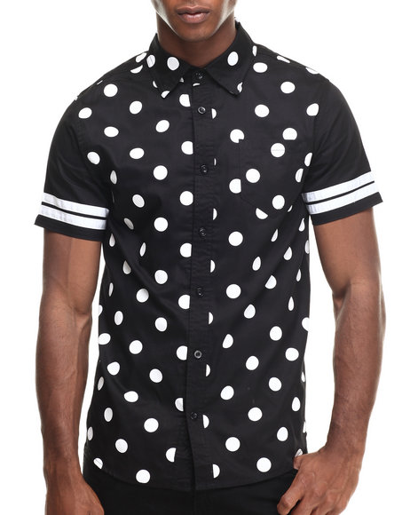 Ur-ID 216897 Buyers Picks - Men Black Polka Dot N Stripes S/S Button Down Shirt