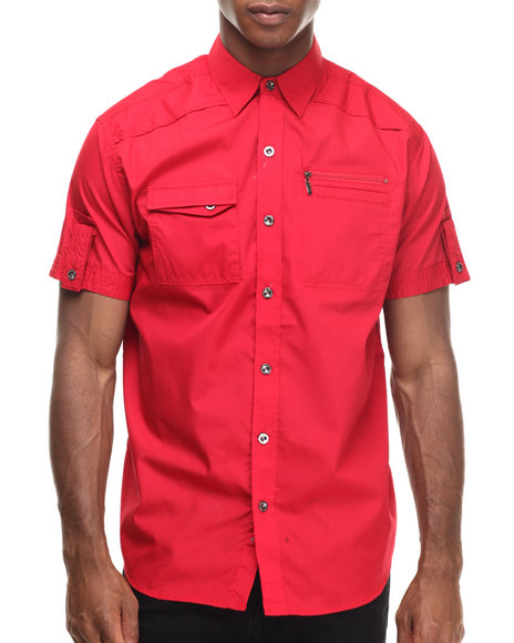 Ur-ID 216901 Buyers Picks - Men Red Contender Zipper Pocket S/S Button Down Shirt