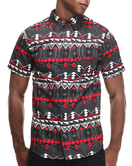 Buyers Picks - Men Red City Aztec Print S/S Button Down Shirt