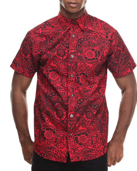 Ur-ID 216922 Buyers Picks - Men Red Paisley All Over Print S/S Button Down Shirt
