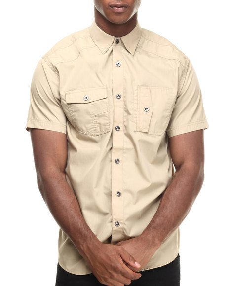 Ur-ID 216933 Buyers Picks - Men Khaki Contender Napoleon Pocket S/S Button Down Shirt