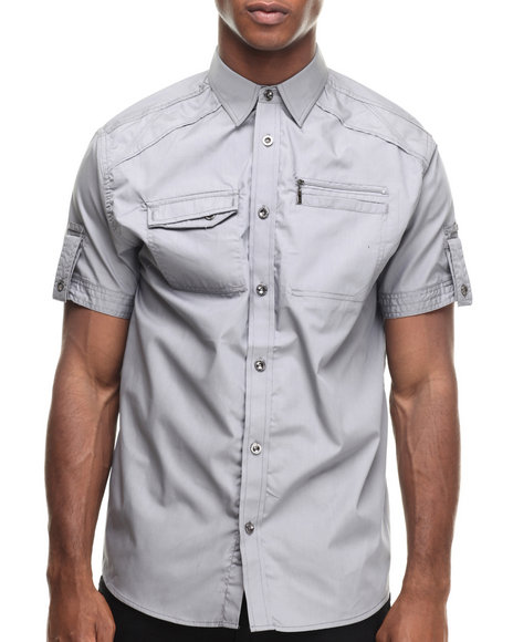 Ur-ID 216936 Buyers Picks - Men Grey Contender Zipper Pocket S/S Button Down Shirt
