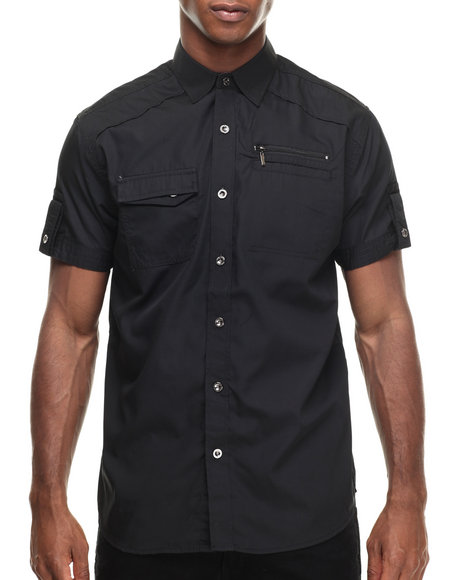 Ur-ID 216940 Buyers Picks - Men Black Contender Zipper Pocket S/S Button Down Shirt