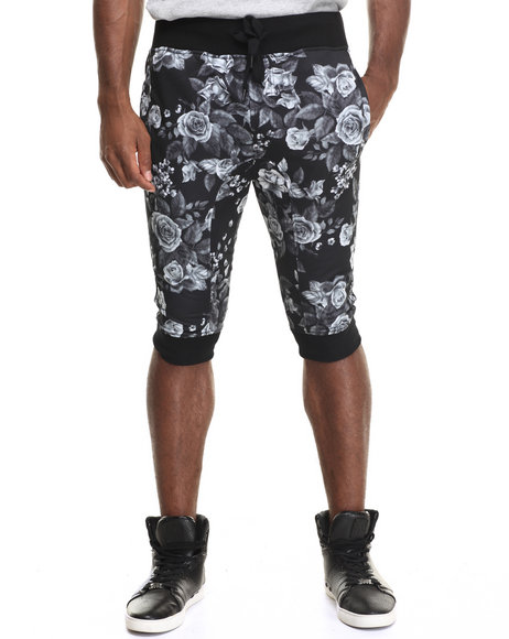 Buyers Picks - Men Black Black Rose Print Capri Jogger Shorts