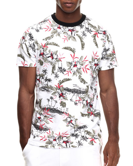 Buyers Picks - Men White Allover Vintage Flower Print Scallop S/S Tee