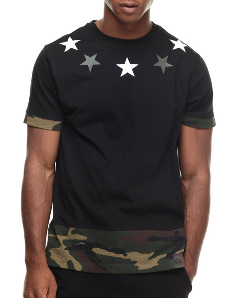 Buyers Picks - Men Black Ringer Camo Tee
