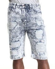 Men - Heavy Rip & Tear frayed LT. Wash Medium Indigo wash denim shorts