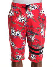 Men - Allover vintage flower print drawstring shorts