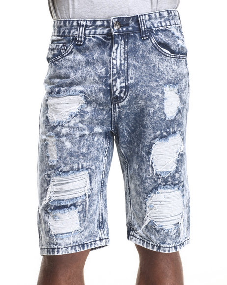 Buyers Picks - Men Dark Wash Heavy Rip & Tear Frayed Dk Indigo Denim Shorts