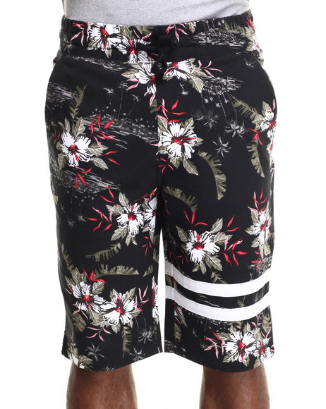 Buyers Picks - Men Black Allover Vintage Flower Print Drawstring Shorts