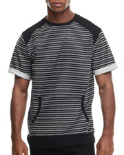 T-Shirts - Striped French Terry S/S Crewneck Sweatshirt w/ Side Zippers