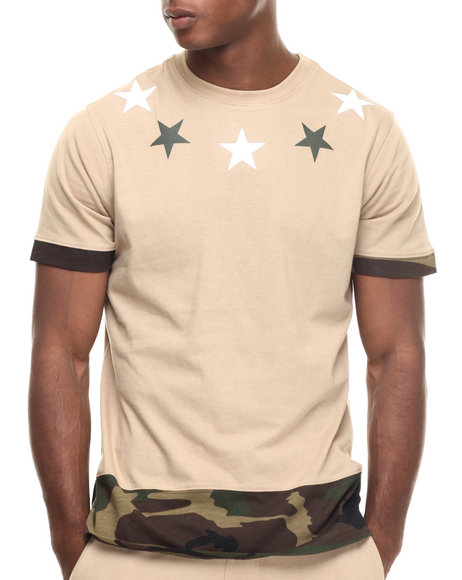 Ur-ID 216942 Buyers Picks - Men Khaki Ringer Camo Tee