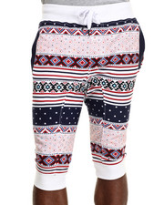 Men - Multi Print Drawstring Capri jogger shorts