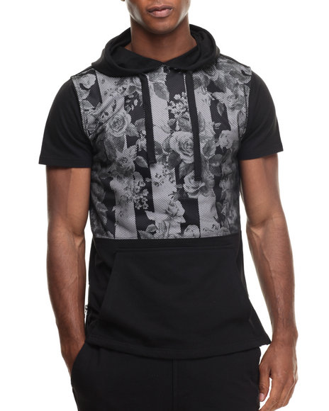 Ur-ID 216950 Buyers Picks - Men Black Mesh Print Pullover S/S Hoody
