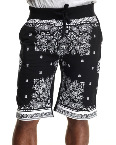 Buyers Picks - Men Black Bandana Print Capri Jogger Shorts