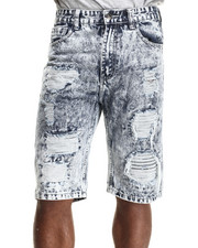 Men - Heay Rip & Tear frayed LT. Wash denim shorts