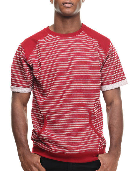 Ur-ID 216961 Buyers Picks - Men Red Striped French Terry S/S Crewneck Sweatshirt W/ Side Zippers