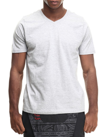 Basic Essentials - Men Grey Basic V - Neck S/S Tee