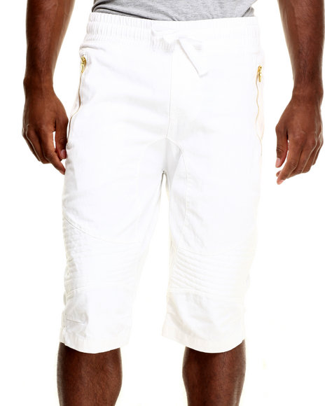 Buyers Picks - Men White Wax Coated Biker Jogger Short