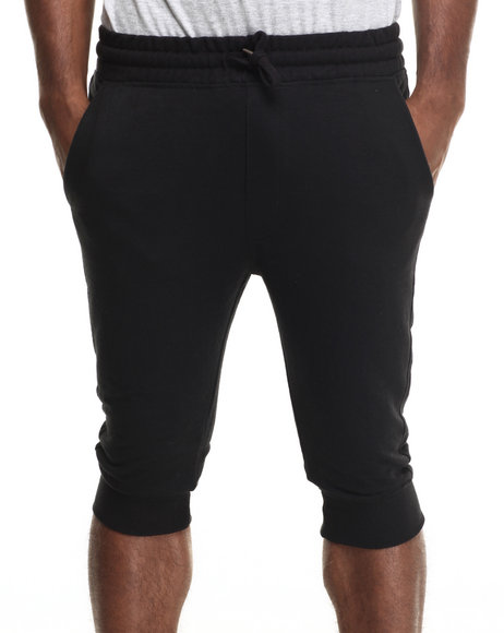Buyers Picks - Men Black Terry Cloth Capri Shorts