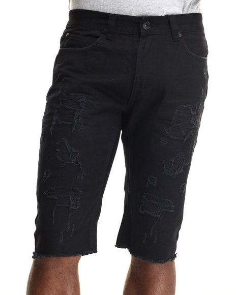 Buyers Picks - Men Black Rip N Tear Washed Denim Shorts