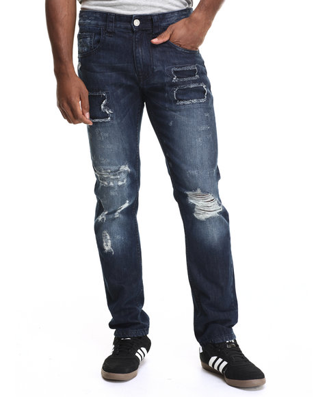 Buyers Picks - Men Dark Wash Rip - And - Repair Straight - Leg Denim Jeans