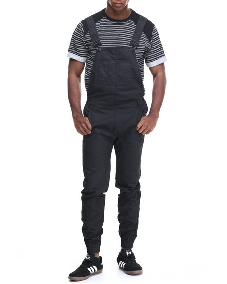 Buyers Picks - Men Black Waxed Twill Overalls W/ Bandana - Printed Lining