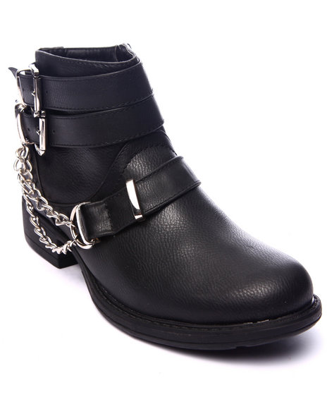 Fashion Lab - Women Black Rebel Ankle Boot W/Chain Detail
