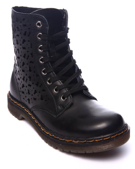 Fashion Lab - Women Black Julia Combat Boot W/Side Detail