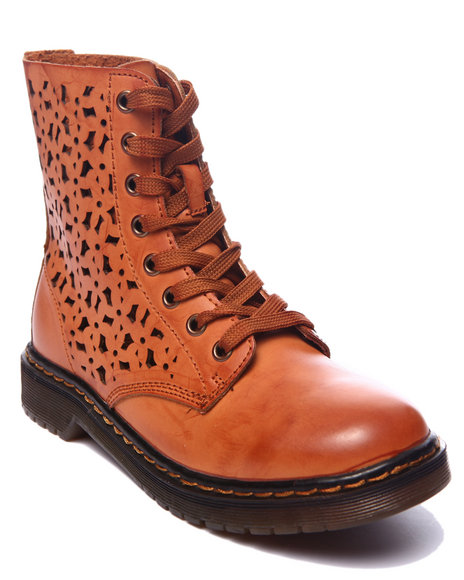 Ur-ID 216987 Fashion Lab - Women Brown Julia Combat Boot W/Side Detail
