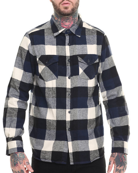 Elixir - Men Navy E L X R Small - Gauge Buffalo Plaid Flannel Button-Down