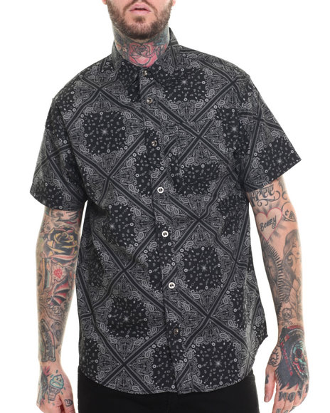Buyers Picks - Men Black Banadan S/S Print Button Down Shirt