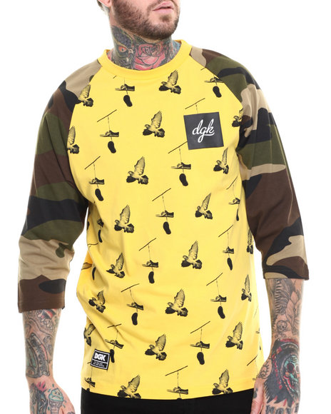 Dgk - Men Camo,Yellow All Day Combo Custom 3/4 Sleeve Jersey Tee