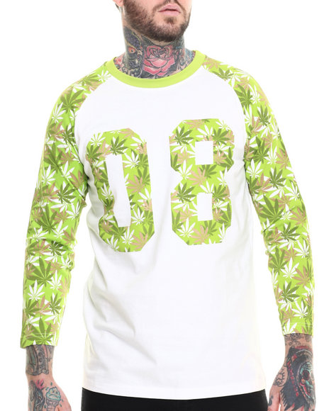 Ur-ID 217022 Basic Essentials - Men Green Leaf - Print 3 / 4 Sleeve Raglan Tee
