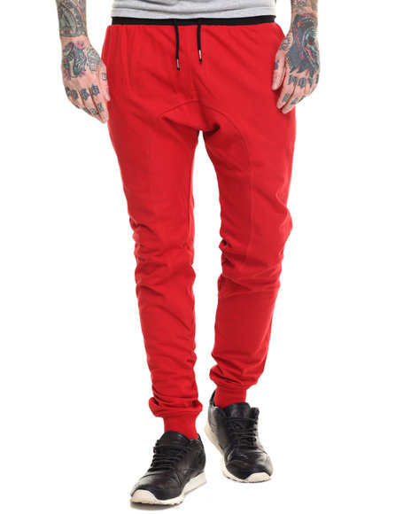 Ur-ID 217040 Basic Essentials - Men Red French Terry Jogger Pants