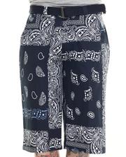 Basic Essentials - Bandana - Print Belted Twill Shorts