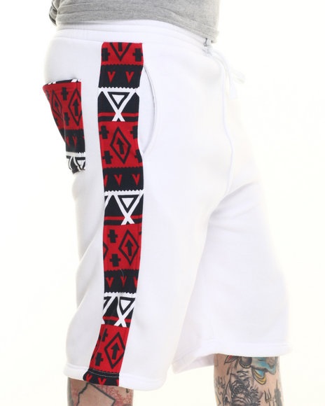 Basic Essentials - Men White Aztec - Print Fleece Shorts
