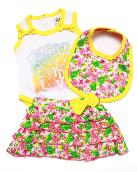 Enyce - Girls Pink 3 Pc Set - Bodysuit, Skirt, & Bib (Newborn) - $8.99