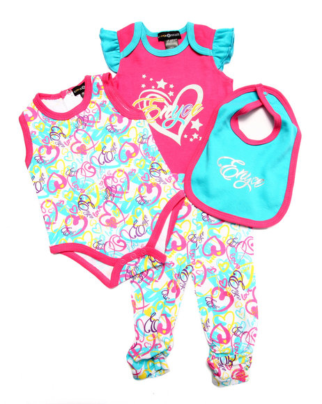 Enyce - Girls Pink 4 Pc Set - Bodysuits, Pants, & Bib (Newborn) - $11.99