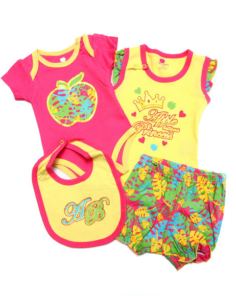 Apple Bottoms - Girls Yellow 4 Pc Bodysuit, Shorts, & Bib Set (Newborn)
