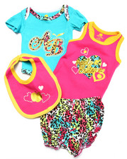Girls - 4 PC BODYSUIT, SHORTS, & BIB SET (NEWBORN)