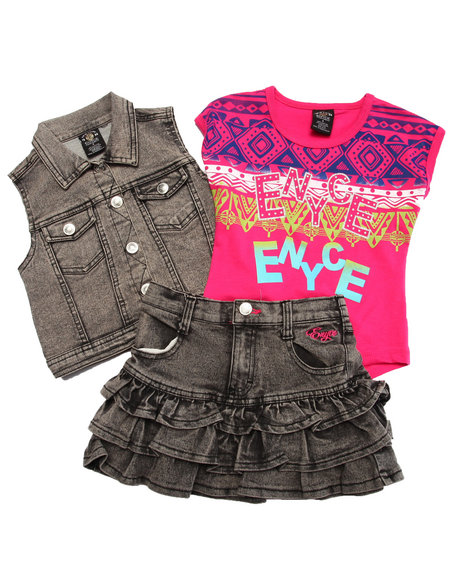 Enyce - Girls Black 3 Pc Vest & Skirt Set (4-6X) - $17.99