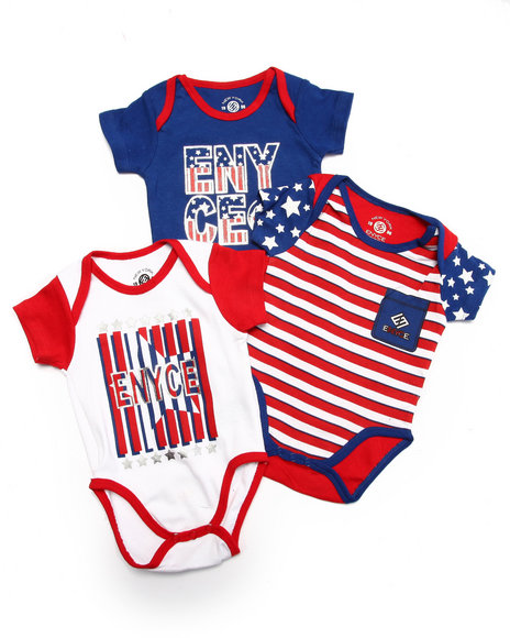 Enyce - Boys Red 3 Pack Bodysuits (Newborn) - $8.99
