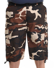 Men - Belted Cotton Camo Cargo Shorts (B&T)