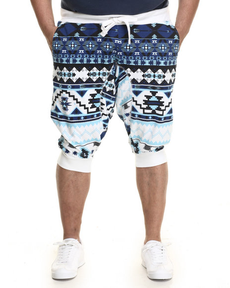 Akademiks - Men Blue Quan Print Jogger Short (B&T) - $16.99