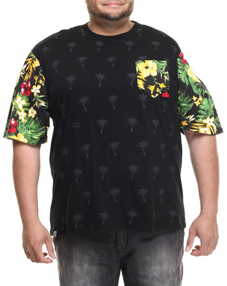 Akademiks - Men Black Marshall Tropical Sleeve Print S/S Tee (B&T) - $28.99