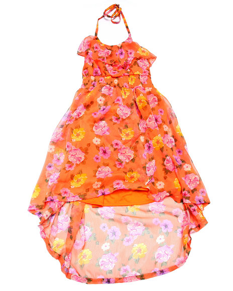 Dollhouse - Girls Orange Floral Halter Chiffon Dress  (7-16)